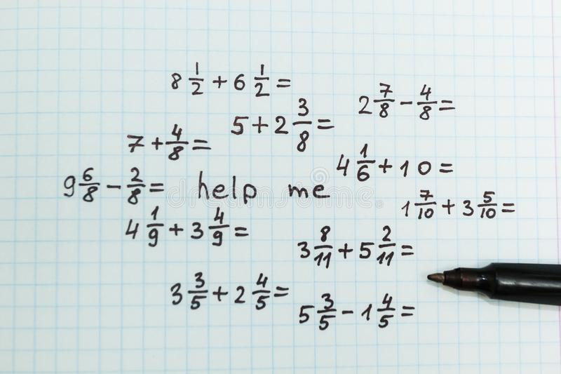 The problem in mathematics is help me. Top view royalty free stock images