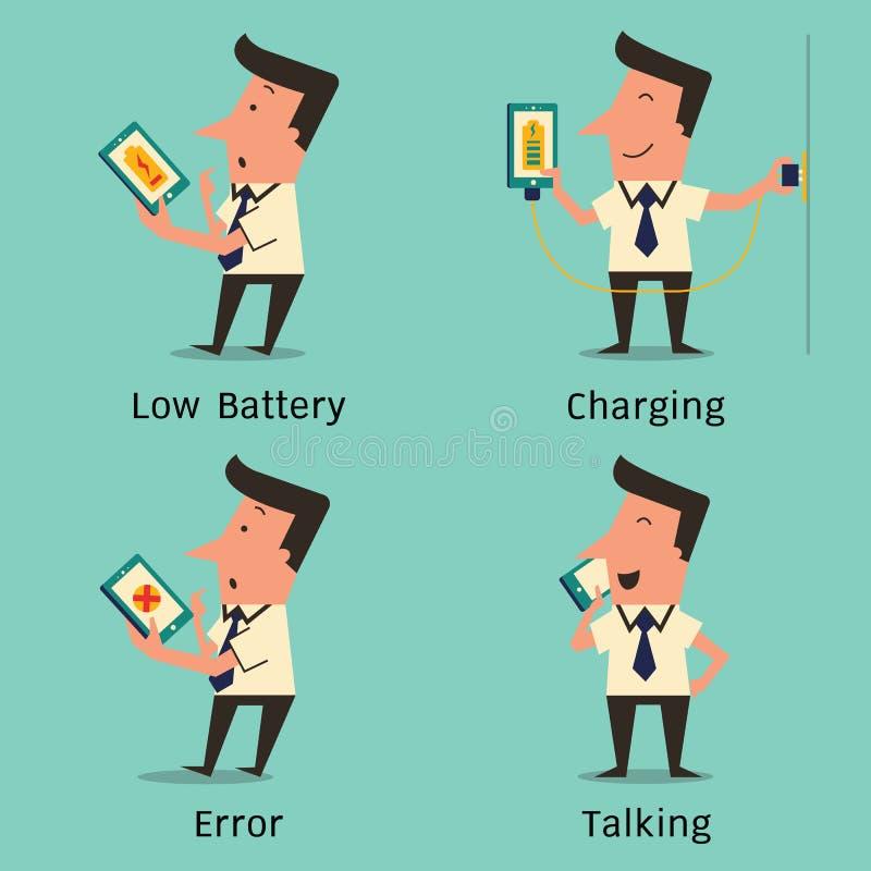 Problem med smartphonen vektor illustrationer