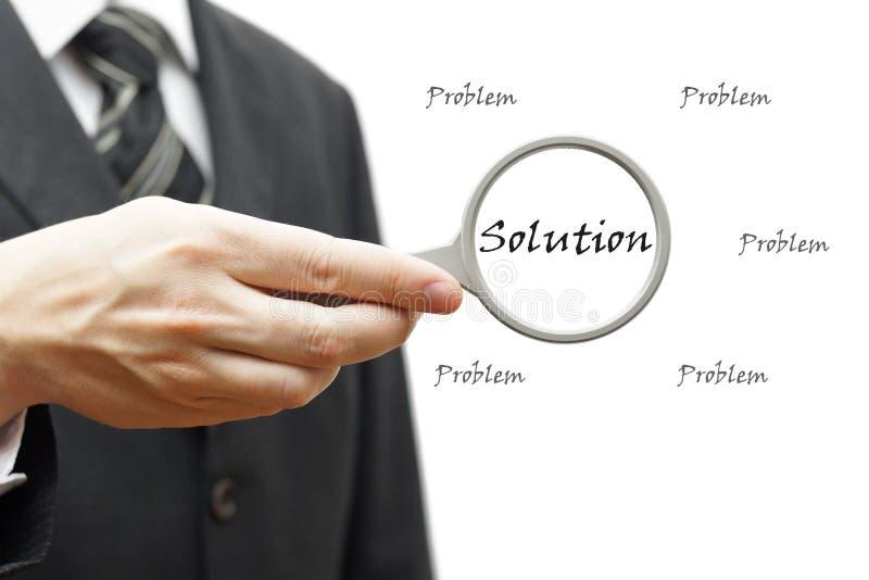 Problem och lösning - affärsidé med affärsmannen och mag fotografering för bildbyråer