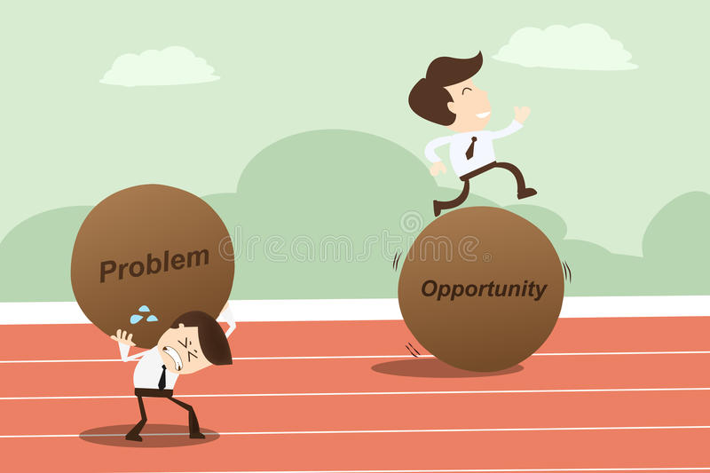 Problem opportunity ,Business Concept. Businessman runing on stone opportunity royalty free illustration