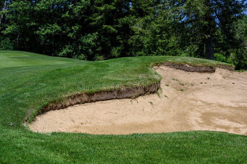 Problem på golfbanan, sandfälla som skyddar en golfgräsplan med träd i bakgrunden fotografering för bildbyråer
