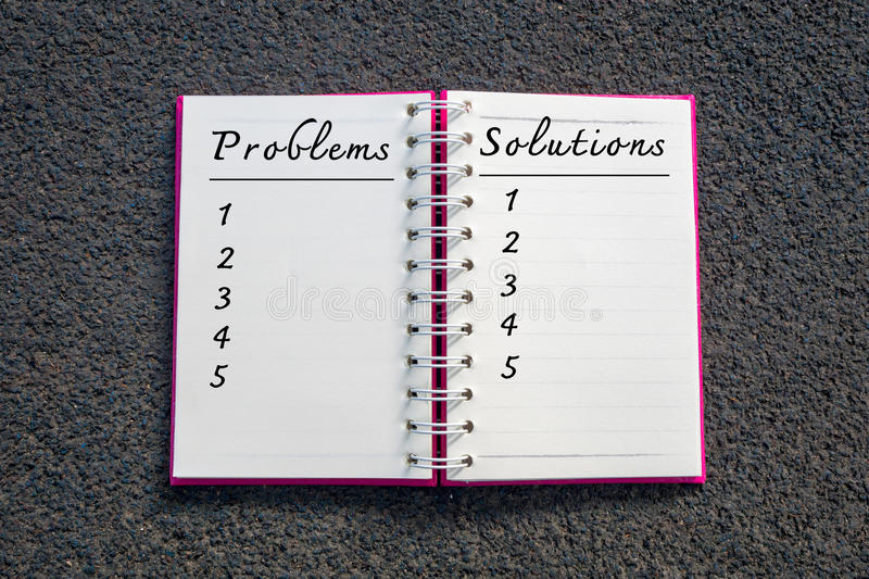 Problem and Solution, Business Concept. Problems and solutions list in white notebook stock image