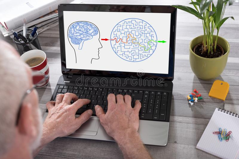 Problem and solution concept on a laptop screen. Problem and solution concept shown on a laptop used by a man stock images