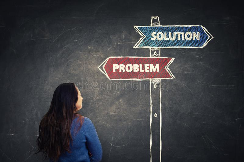 Problem solution crossroad signpost royalty free stock image