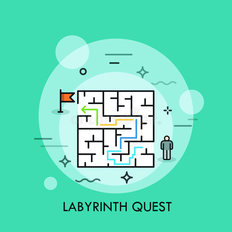 Problem solution and decision making concept, successful business strategy, labyrinth quest icon royalty free illustration