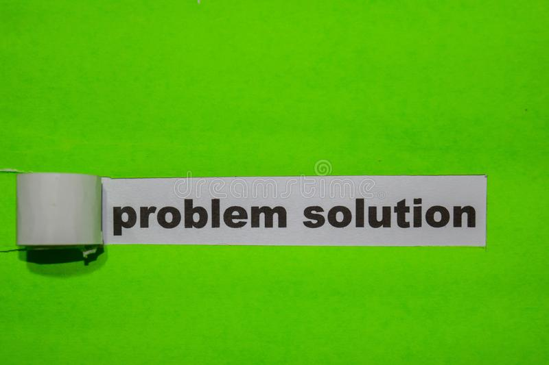 Problem Solution, Inspiration and business concept on green torn paper royalty free stock images