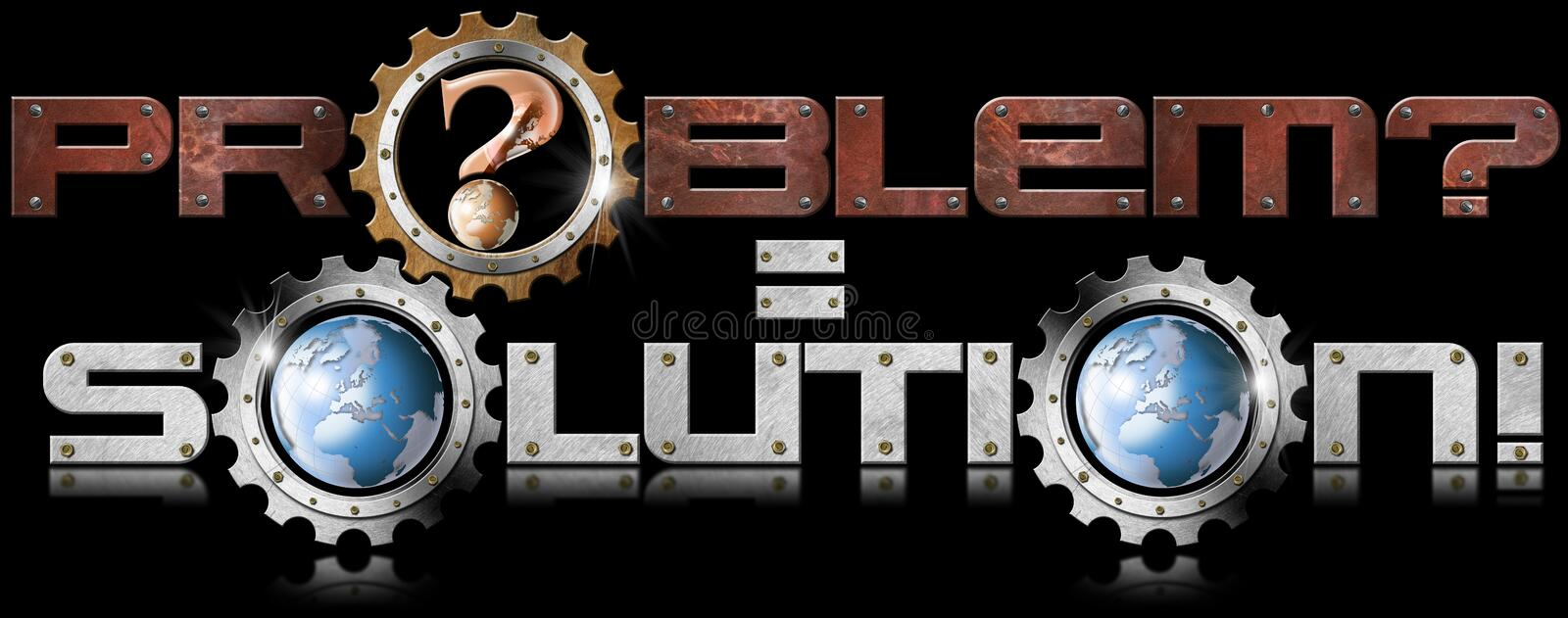 Problem and Solution Metal Gears royalty free illustration