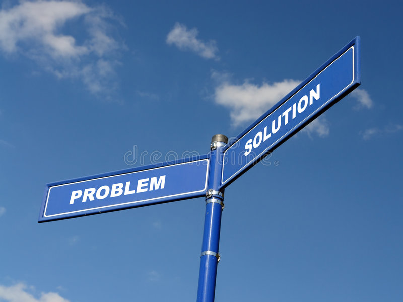 Problem and solution signpost stock photos