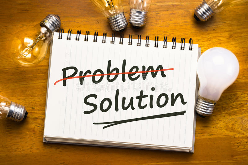 Problem Solution. Solution for solve problem text with many light bulbs stock photo