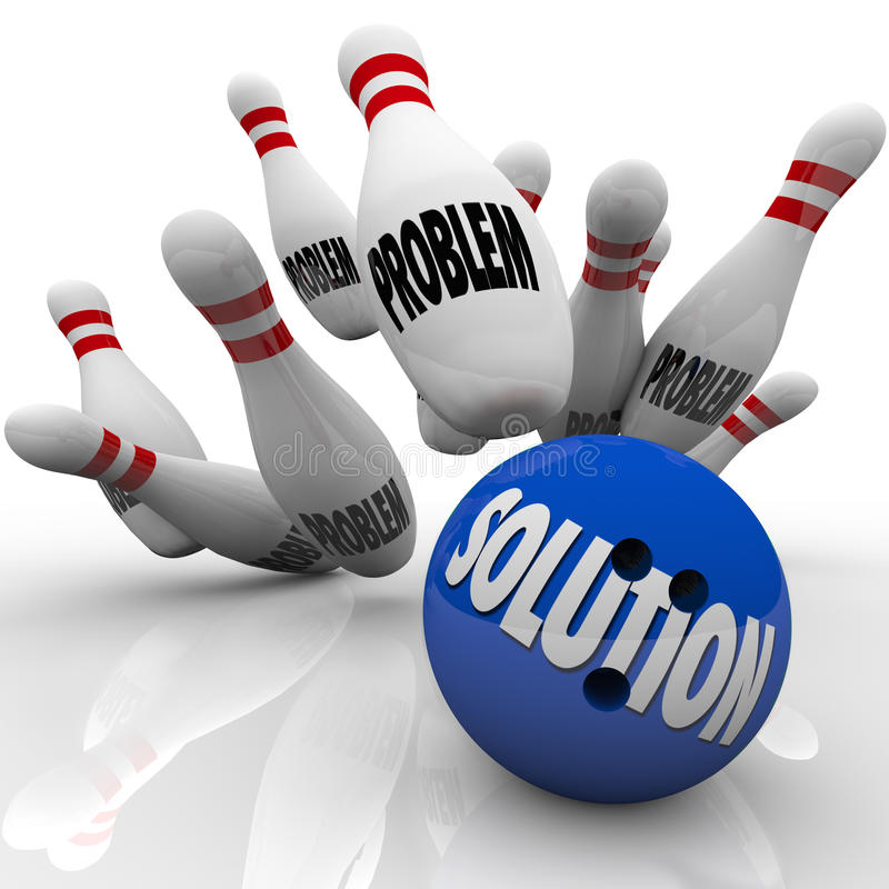 Problem Solution Solved Bowling Ball Pins. The word Solution on a blue bowling ball hitting pins with the word Problem on them to represent an answer to solve royalty free illustration