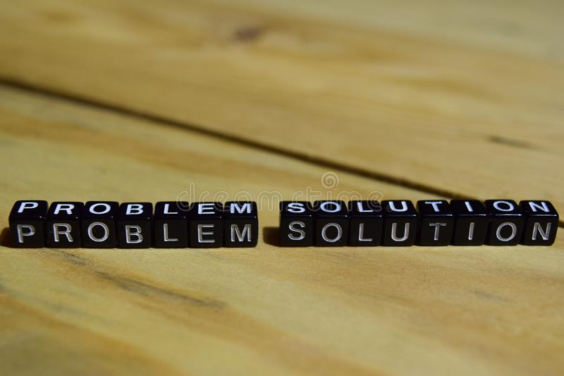 Problem Solution written on wooden blocks. royalty free stock photos