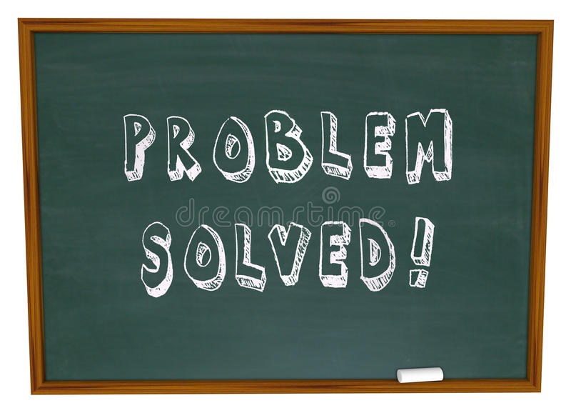 Problem Solved Words Chalkboard Solution. The words Problem Solved written on a school chalkboard or blackboard to symbolize successful resolution to an issue or stock illustration