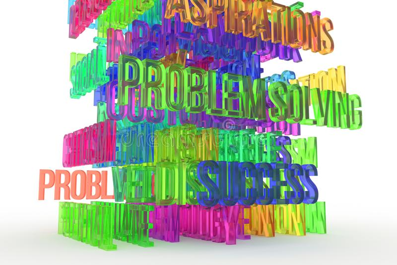 Problem solving, business conceptual colorful 3D rendered words. Design, message, backdrop & background. Problem solving, business conceptual colorful 3D royalty free illustration