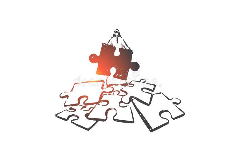 Problem solving, challenge concept sketch. Hand drawn isolated vector. Problem solving, challenge concept sketch. Business planning, strategy development vector illustration
