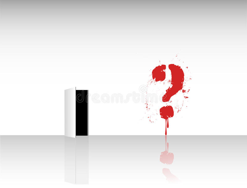 Problem solving concept,. Room with question mark and an exit stock illustration