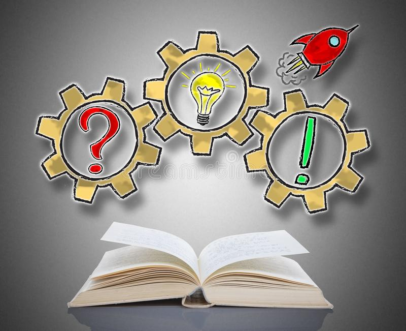 Problem solving concept above a book stock photo