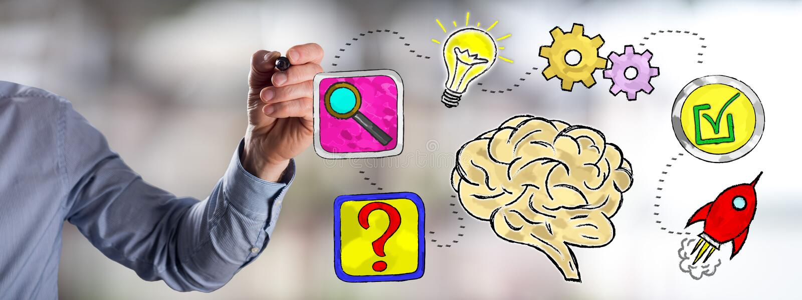 Problem solving concept drawn by a man stock photo