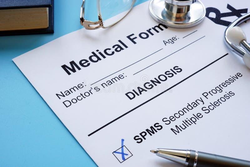Secondary progressive Multiple sclerosis SPMS diagnosis. Secondary progressive Multiple sclerosis SPMS diagnosis form stock photography
