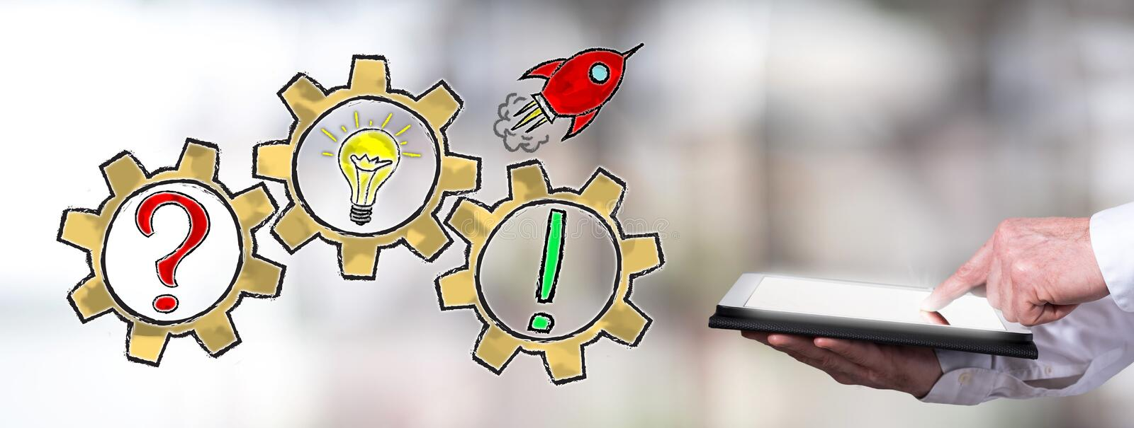 Problem solving concept with man using a tablet stock images