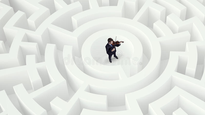Problem solving concept . Mixed media. Confused businessman standing in white maze playing violin stock photo