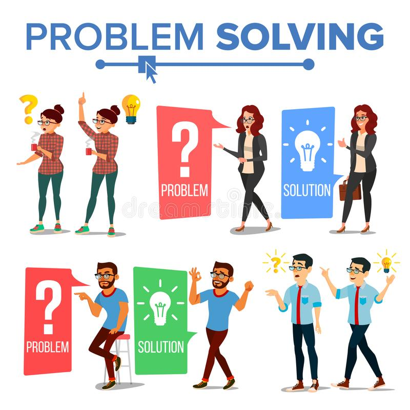 Problem Solving Concept Vector. Thinking Man And Woman. Question Mark, Light Bulb. Creative Project Idea. Issue, Trouble. Solution, Secret Discovery. Career vector illustration
