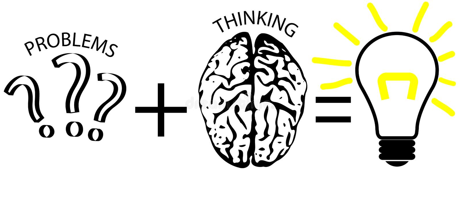 Problem Solving Diagram. With question marks, brain and lightbulb to illustrate problems and solutions stock illustration