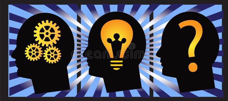 Problem solving human head vector. Illustration with problem solving series,human head design stock illustration