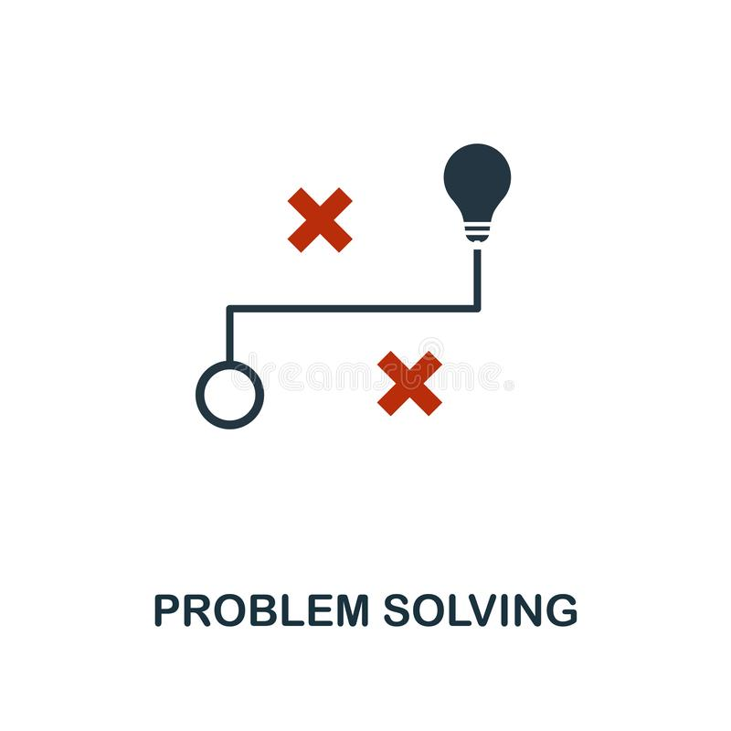 Problem Solving icon in two color design. Red and black style elements from machine learning icons collection.  Creative problem. Solving icon. For web design royalty free illustration