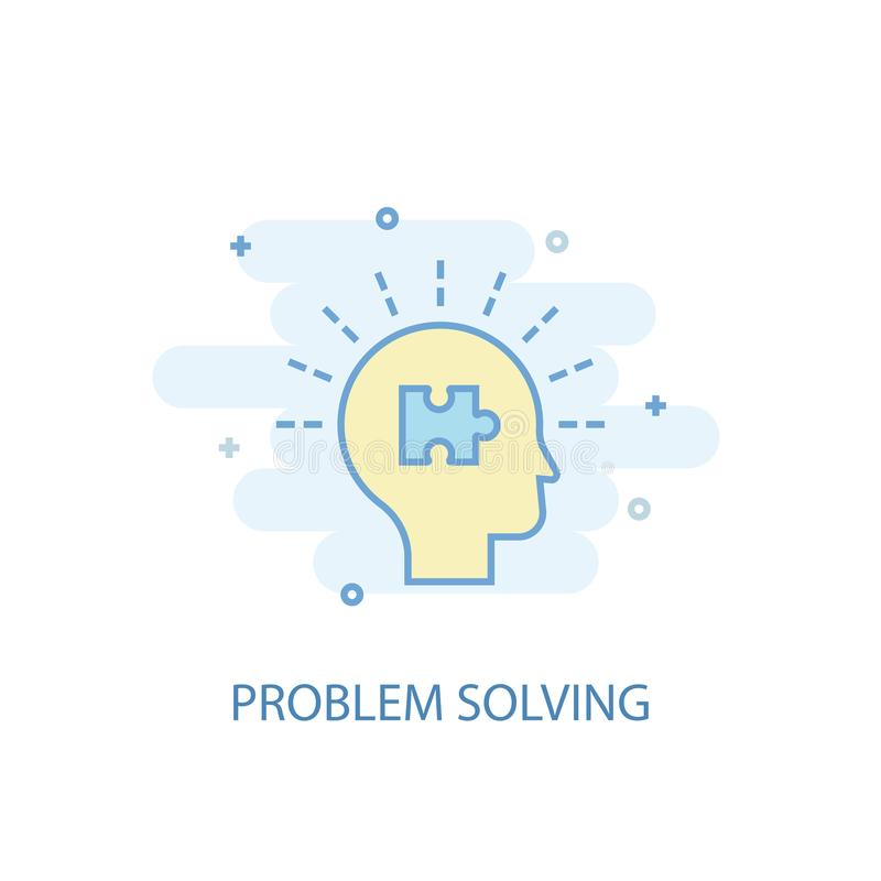 Problem solving line concept. Simple. Line icon, colored illustration. problem solving symbol flat royalty free illustration