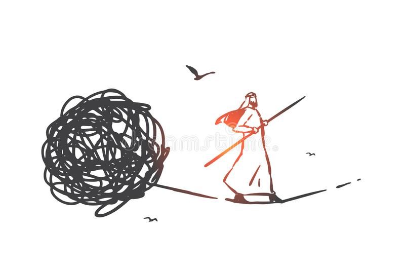 Problem solving, psychotherapy concept sketch. Hand drawn isolated vector. Problem solving, psychotherapy concept sketch. Crisis management, psychological royalty free illustration