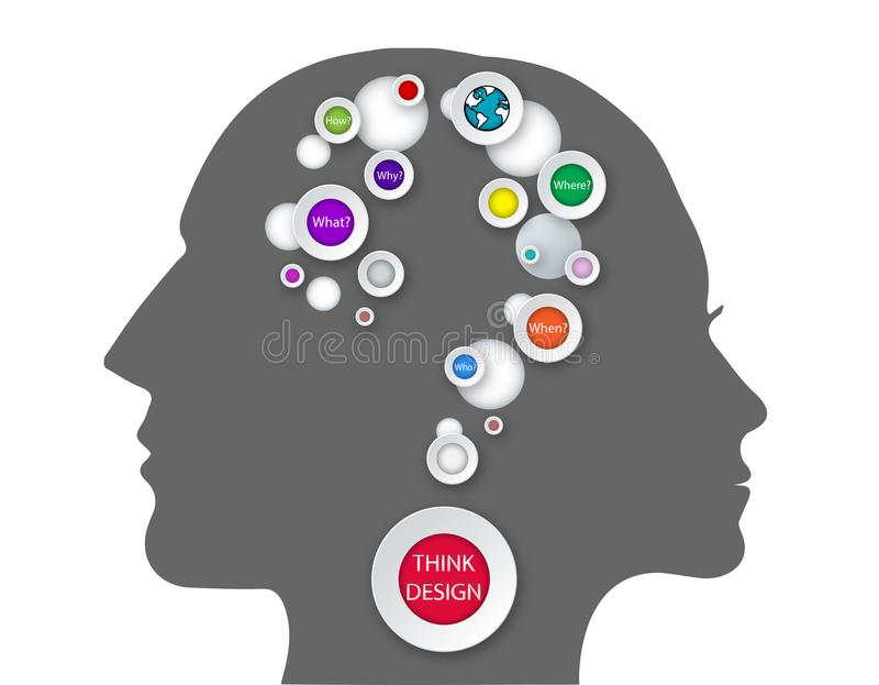 Abstract thought Brain connection Problem solving questions men women think vector. Problem solving technique, how men and women are thinking, studying mind map vector illustration