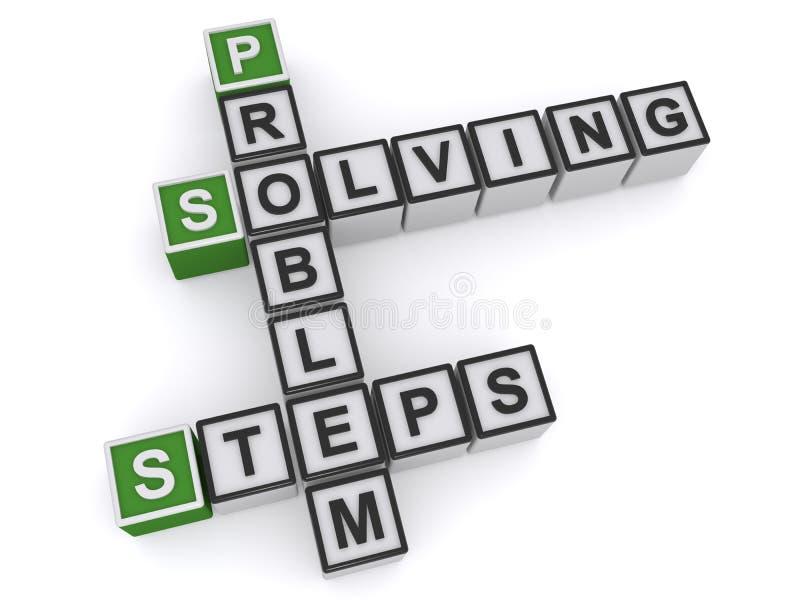 Problem solving steps. Crossword heading on white background royalty free illustration
