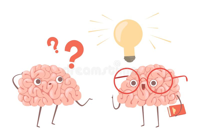 Problem solving vector concept. Cartoon brains thinking about problem and finds new idea illustration. Illustration of brain idea, question think royalty free illustration