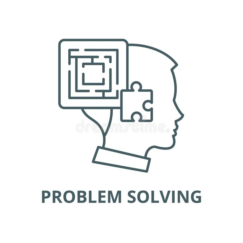 Problem solving vector line icon, linear concept, outline sign, symbol. Problem solving vector line icon, outline concept, linear sign vector illustration