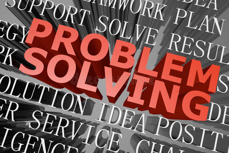 Problem solving word cloud. 3D rendered word cloud of problem solving concept vector illustration