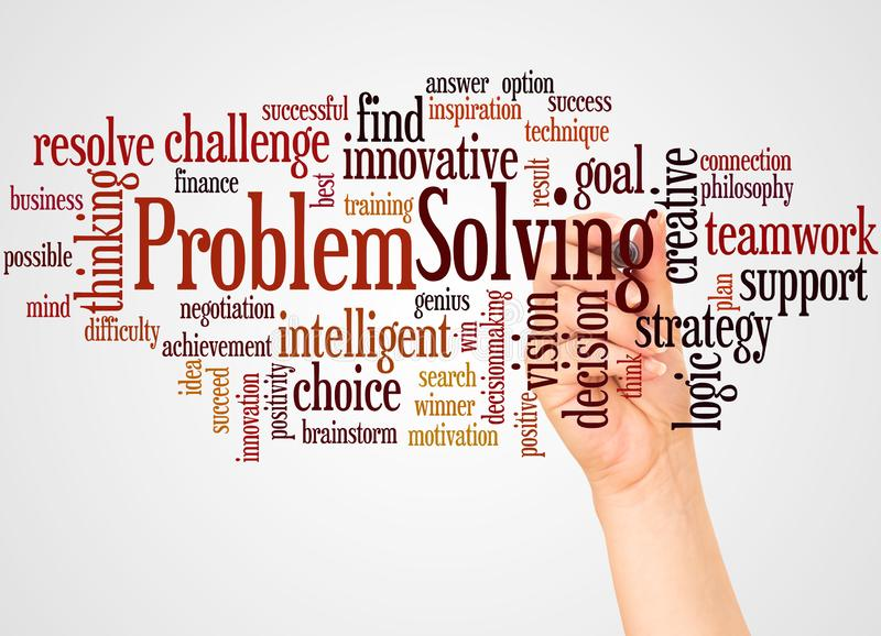 Problem Solving word cloud and hand with marker concept royalty free stock photography