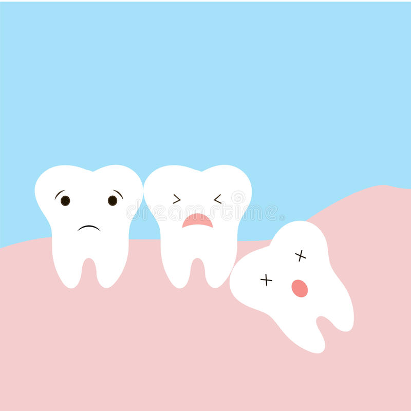 Problem som orsakas av inklämda vishettänder, inkluderar Sömnig tand av den inklämda tanden dystopic tänder rolig tecknad filmill vektor illustrationer