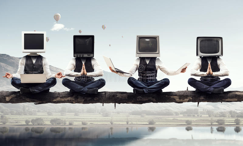 Problem of television addiction . Mixed media . Mixed media royalty free stock images