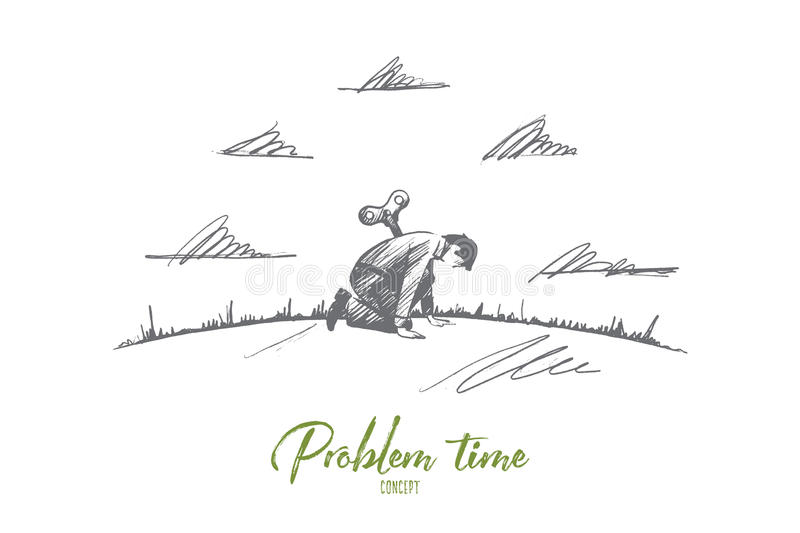 Problem time concept. Hand drawn isolated vector. Problem time concept. Hand drawn sad man in trouble. Person tired isolated vector illustration vector illustration
