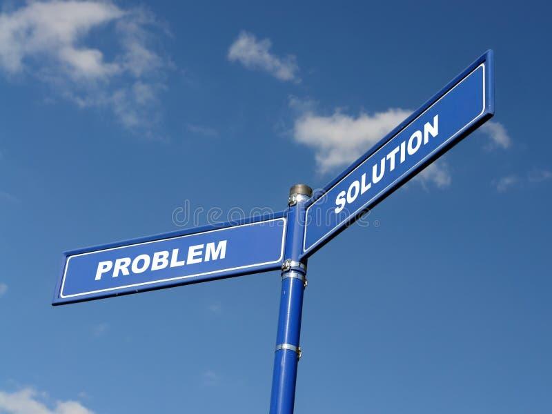 Problem und Lösung Signpost stockfotos