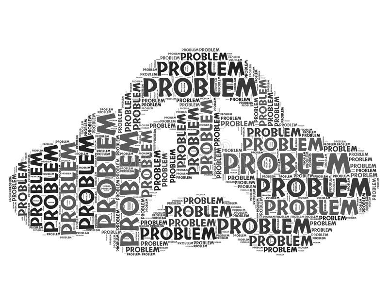 Problem Word Represents Muddle Difficulty And Misadventure. Problem Word Showing Plight Dilemma And Drawback royalty free illustration