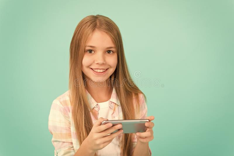 Problem of youth. Mobile phone and internet addiction. Addicted to internet online games. Mobile gadget dependence. Girl stock photo