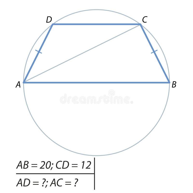 Problem znajdować przekątnę i Boko strony równoramienny trapezoid-01, ilustracji