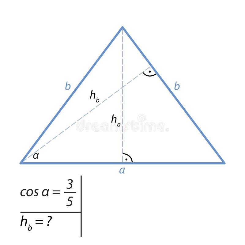 Problem znajdować wzrost równoramienny trójbok Pitagorejskim teorematem ilustracja wektor
