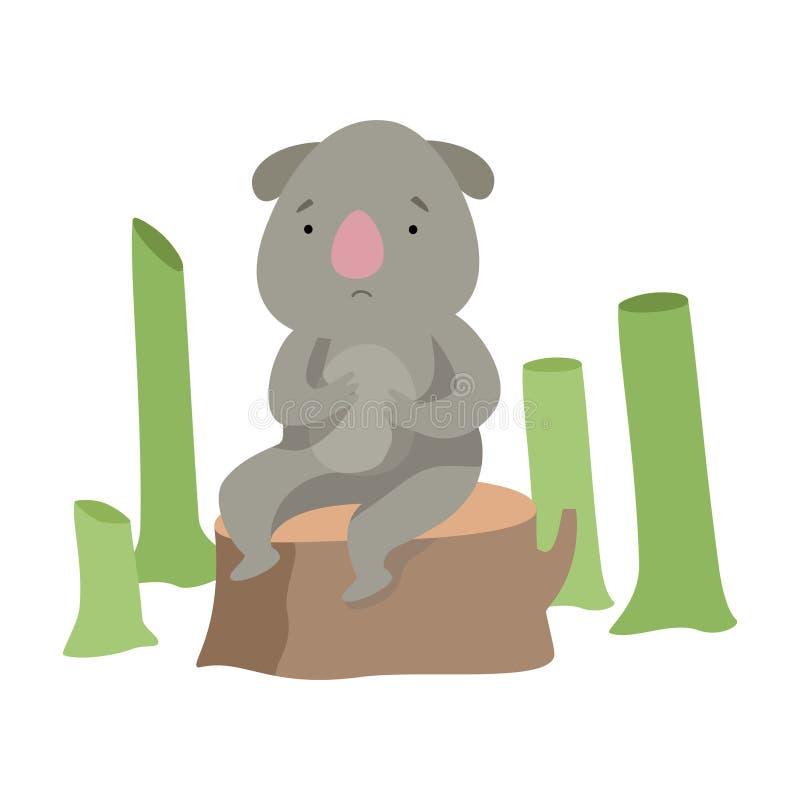 Problema ambiental global, desflorestamento, ilustração do vetor do desastre ecológico em um fundo branco ilustração do vetor