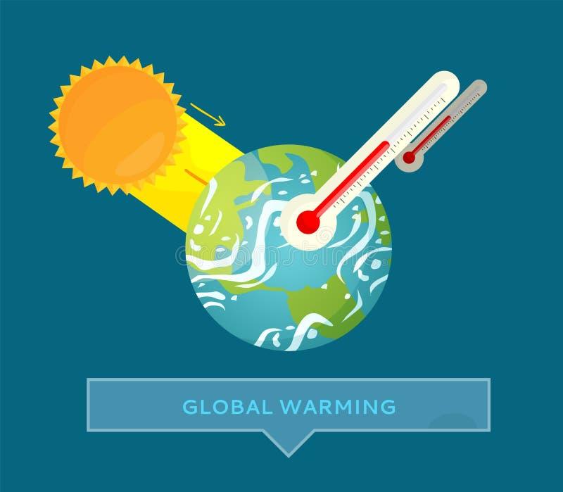 Problema ambiental, tempo quente, vetor da terra ilustração stock