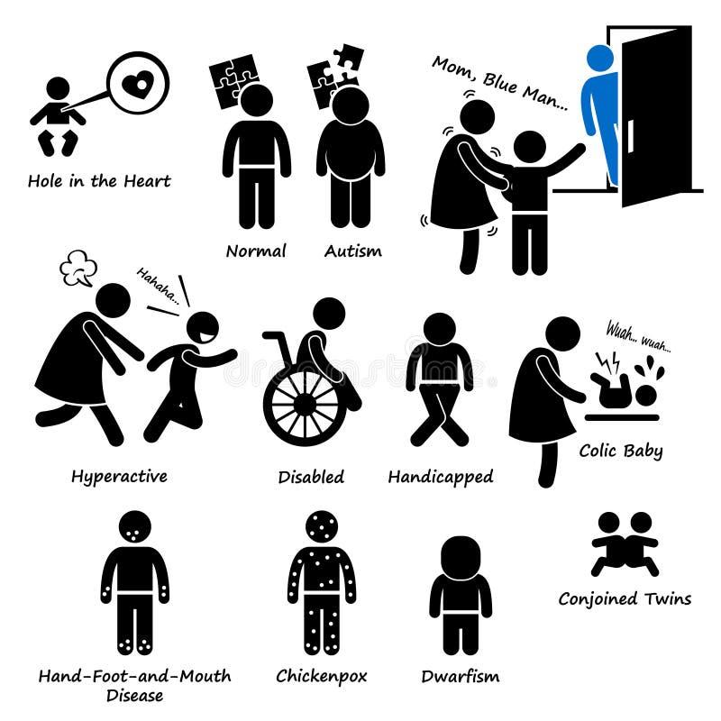 Problema Cliparts da síndrome da doença da saúde da criança das crianças do bebê ilustração do vetor