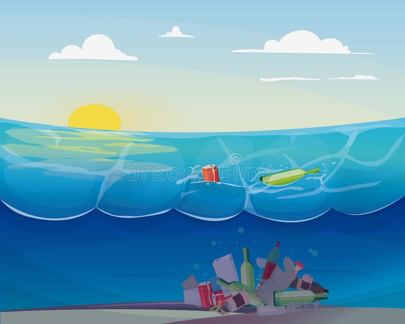 Problema da poluição no oceano ilustração stock