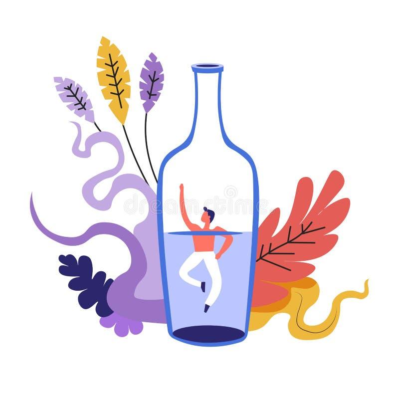 Problema de la familia, hombre que se ahoga en botella con la bebida alcohólica libre illustration