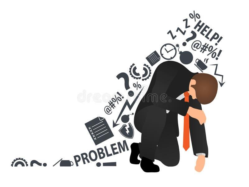 Hombre de negocios u oficinista con exceso de trabajo y cansado que se sienta en su rodilla y que intenta levantarse ejemplo mode ilustración del vector